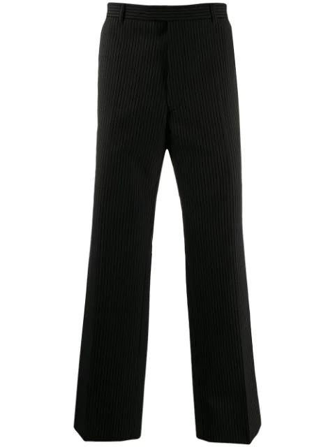 Prada Straight Leg Striped Trousers In Black