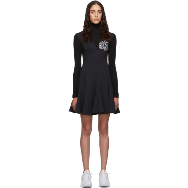 Off-White Cheerleader Multi-Wave Turtleneck Dress In Black