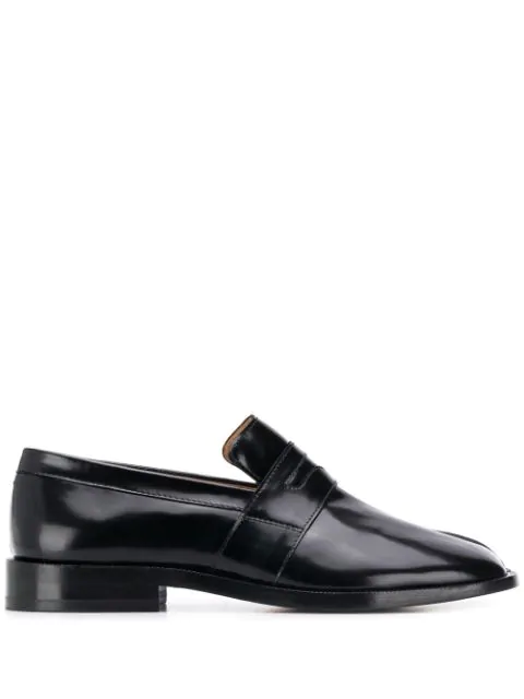 Maison Margiela Split-toe Patent-leather Collapsible-heel Loafers In T8013 Black