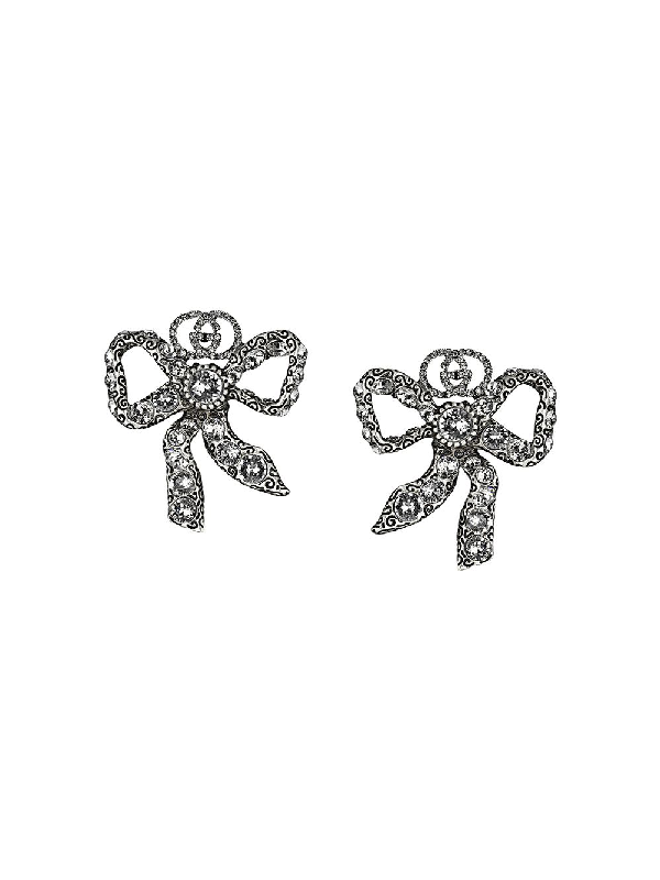 Gucci Crystal Bow Earrings In Metallic