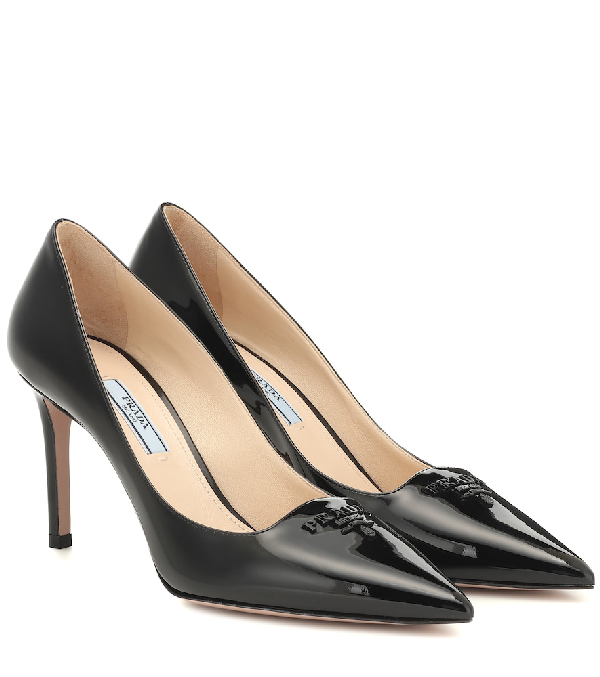 Prada 85 Logo-appliquÉd Textured-leather Pumps In Black