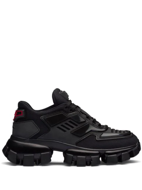 Prada Combat Leather-trimmed Mesh And Rubber Sneakers In Black