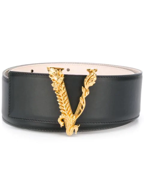 Versace Virtus Skinny Chain-trimmed Leather Belt In Black