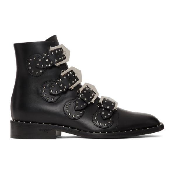 Givenchy Ankle Boots Havanna Calfskin Logo Metallic Black In 001 Black