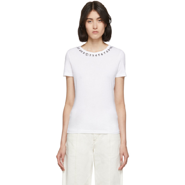 Maison Margiela Numbers Print Neckline T-shirt In 100 Opt Whi
