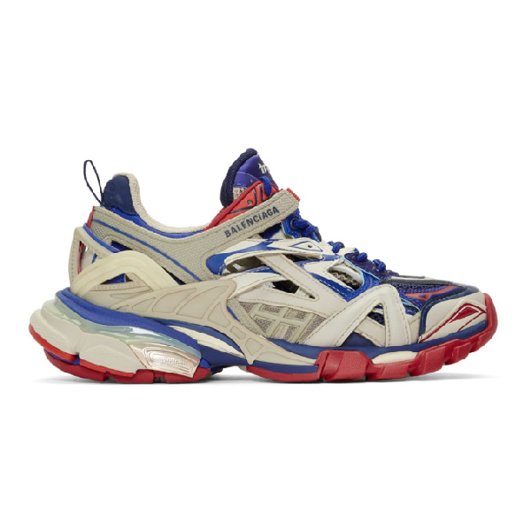 Balenciaga White Men's Blue And Red Track.2 Caged Sneakers In Beige/blue/red