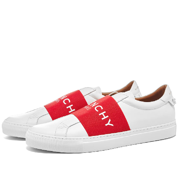 Givenchy Urban Street Logo-Print Leather Slip-On Sneakers In 112 White Red