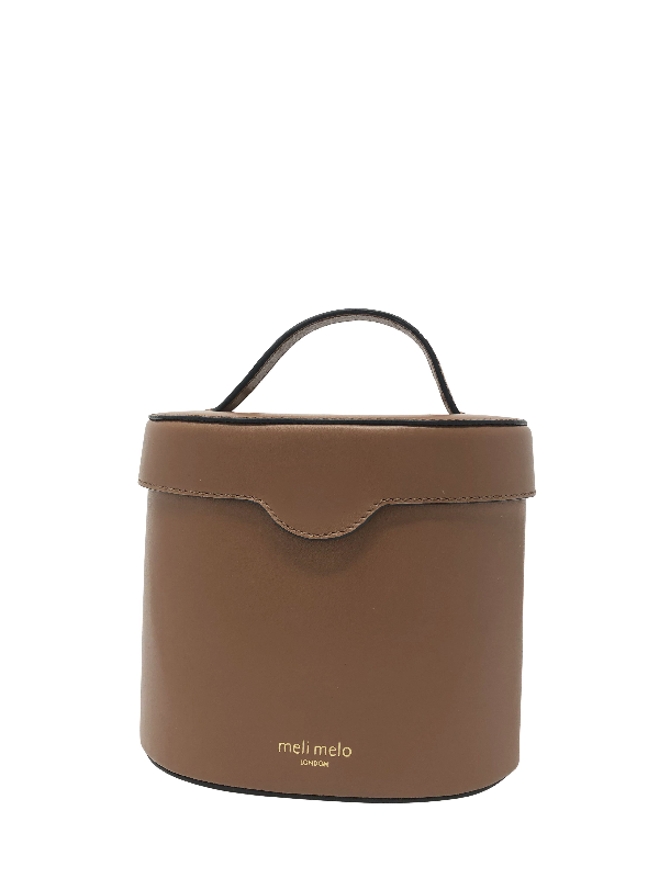 Meli Melo Kitty Almond Brown Leather Cross Body Bag For Women