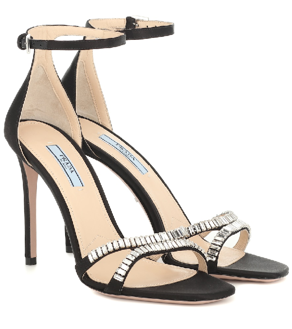 Prada Suede Sandals With Crystals Embellishment In Black