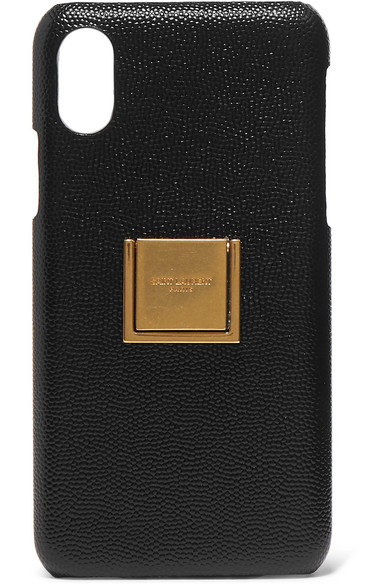 Saint Laurent Iphone Xs Case With Ring In Grain De Poudre Embossed Leather In 1000 Nero