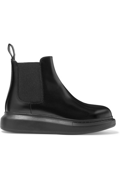 Alexander Mcqueen Glossed-leather Exaggerated-sole Chelsea Boots In Black
