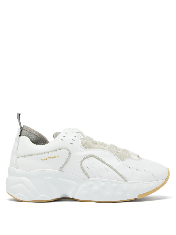 Acne Studios Chunky Outsole Leather Patchwork Sneakers In White