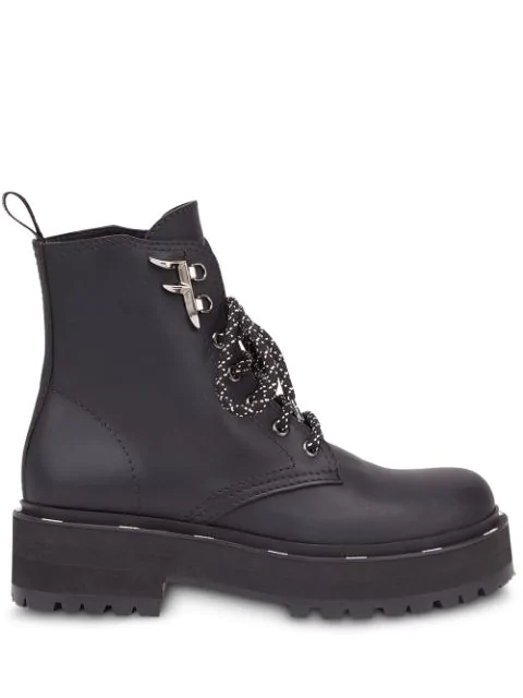 Fendi Ffreedom Lace-Up Hiker Booties In F0Qyl-Black+Dark Grey