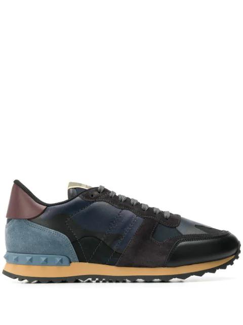 Valentino Garavani Rockrunner Mesh, Leather And Suede Sneakers - Black