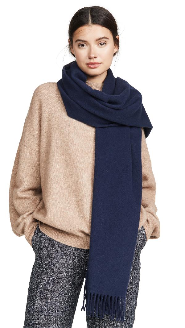 Acne Studios Canada Narrow Fringed Wool Scarf In Blue