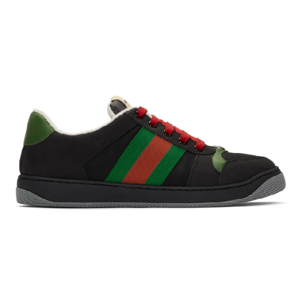 Gucci Screener Webbing-trimmed Leather, Suede And Canvas Sneakers In 1098 Nero/b