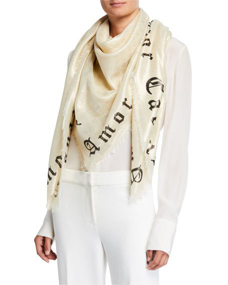 Gucci Amor Caecus Blind Love Metallic Jacquard Scarf In Ivory