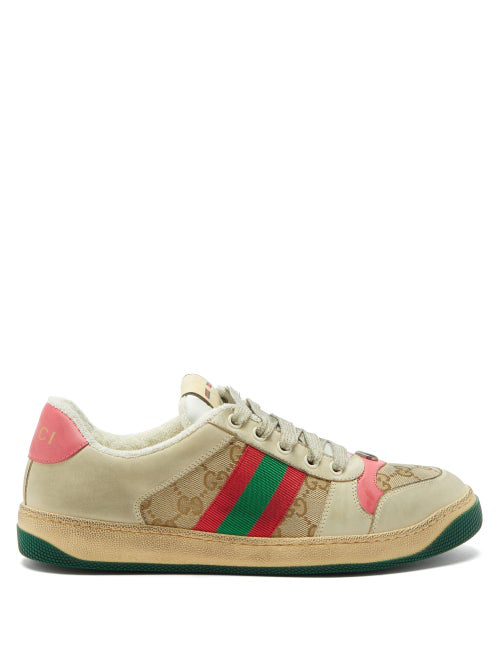 Gucci Screener Gg Logo Distressed Leather Trainers In White