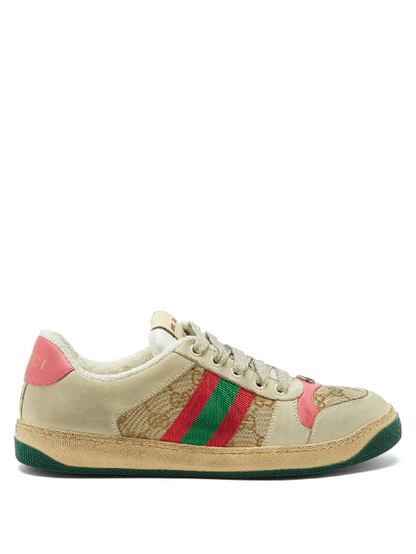 Gucci Screener Gg-logo Distressed-leather Trainers In 9665 Pink