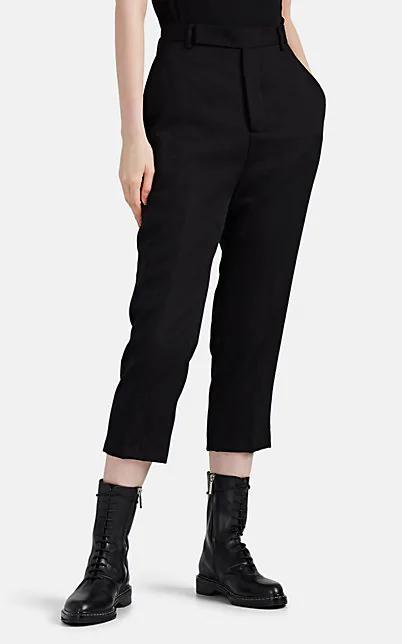 Rick Owens Easy Astaire Wool Crop Trousers In Black