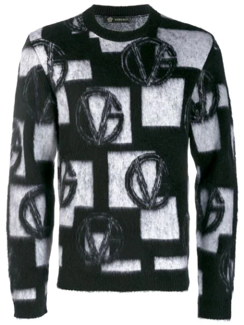 Versace Wool Blend Jacquard Knit Sweater In A229C