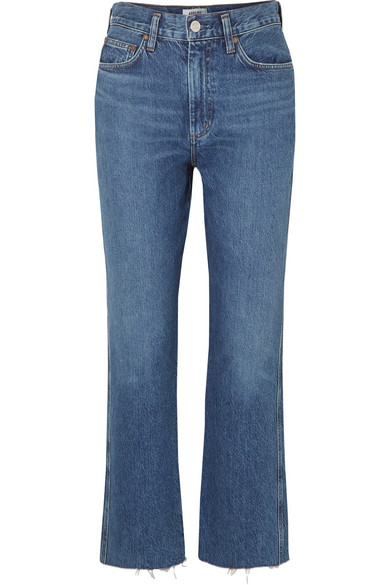 Agolde Pinch Waist Cropped Organic High-rise Flared Jeans In Mid Denim