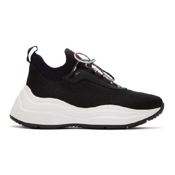 Prada America's Cup Mesh And Leather Trainers In F0967 Black