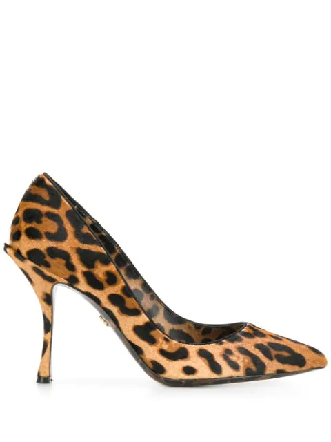 Dolce & Gabbana Dolce&gabbana Leopard-print Pony Hair Pumps In Brown