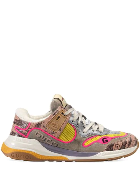Gucci Ultrapace Snake-effect Leather, Mesh And Distressed Suede Sneakers In Silver ,pink