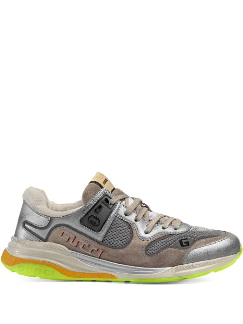 Gucci Ultrapace Distressed Leather And Suede Trainers In Silver ,brown