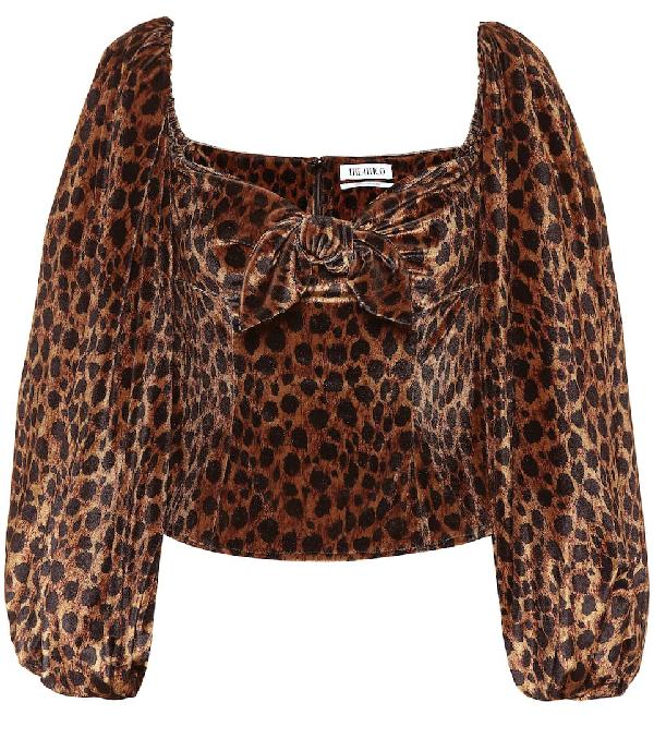 Attico Balloon-sleeved Leopard-print Velvet Top In Black