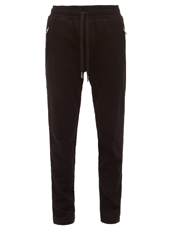 Dolce & Gabbana Dg-logo Patch Cotton Track Pants In Black
