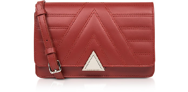Lancaster Parisienne Matelassé Quilted Leather Crossbody Bag In Red