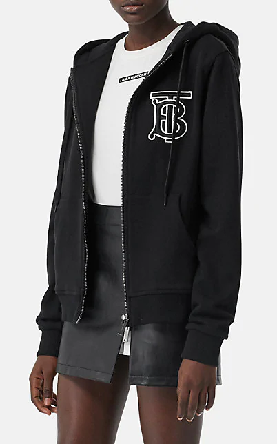 Burberry Black Women's Monogram Motif Cotton Oversized Hooded Top