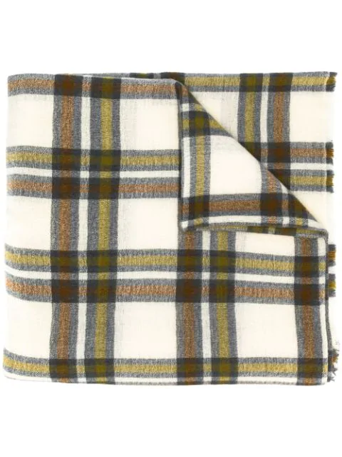 Isabel Marant Simona Plaid Wool And Cashmere-blend Scarf In Neutrals