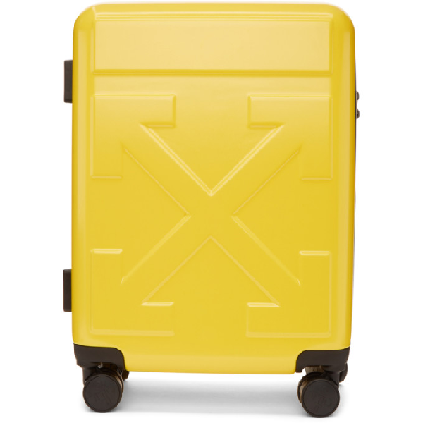 Off-White Arrow Hard Side Trolley Wheeled Suitcase - Yellow