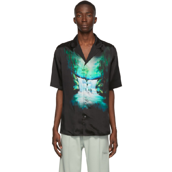 Off-White Waterfall-Print Relaxed-Fit Satin Shirt In Blk Multi