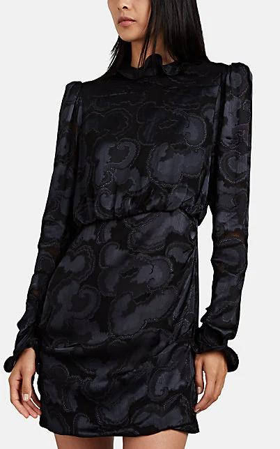 Saloni Rina B Long-Sleeve High-Neck Cocktail Dress In Black