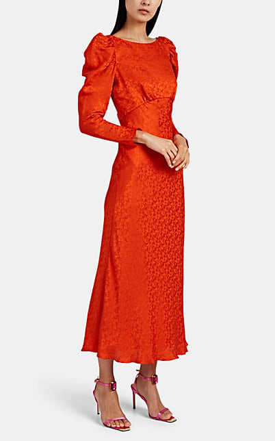 Saloni Puff Sleeve Jacquard Satin Midi Dress In Orange