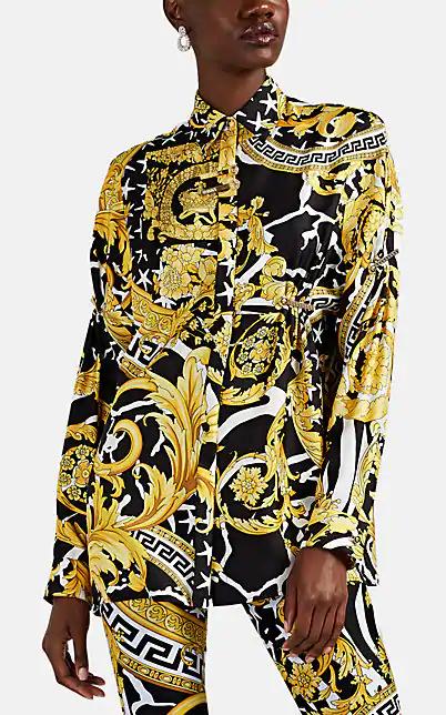 Versace 黑色 And 金色 Tresor De La Mer 衬衫 In Black