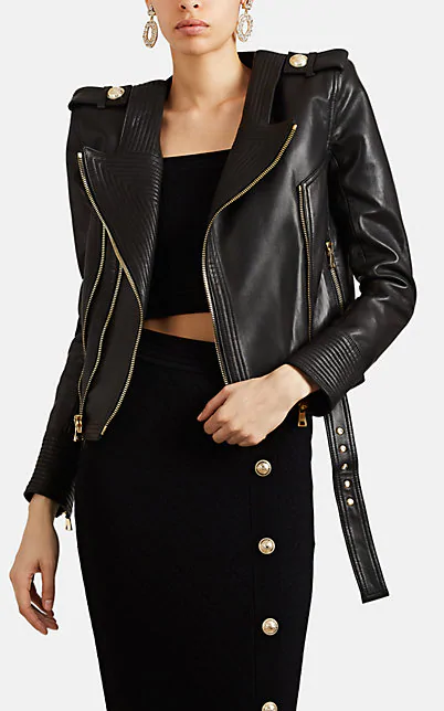 Balmain Perfecto Cropped Leather Moto Jacket In Black