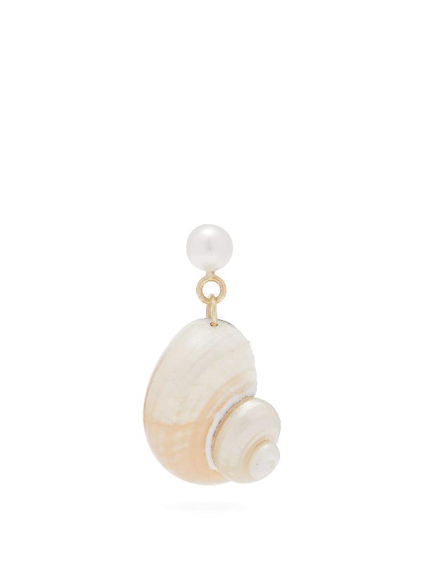 Nadia Shelbaya Ningyo Pearl, Shell & Gold Single Earring
