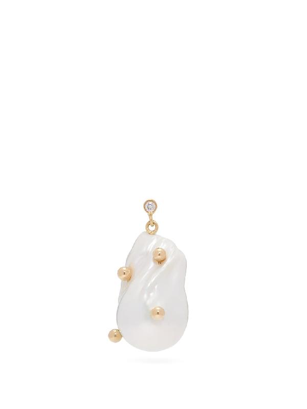 Nadia Shelbaya 101 Dot Morgiana Pearl & Gold Single Earring