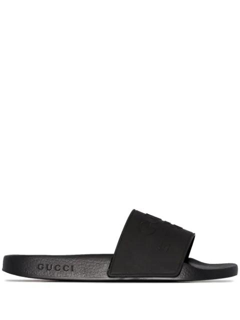 Gucci Pursuit Logo-Embossed Slides In Black