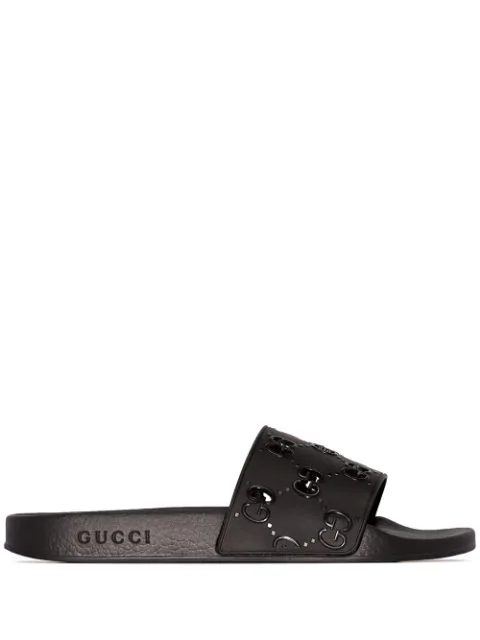 Gucci Slider Gg Flats In Black Rubber/plasic