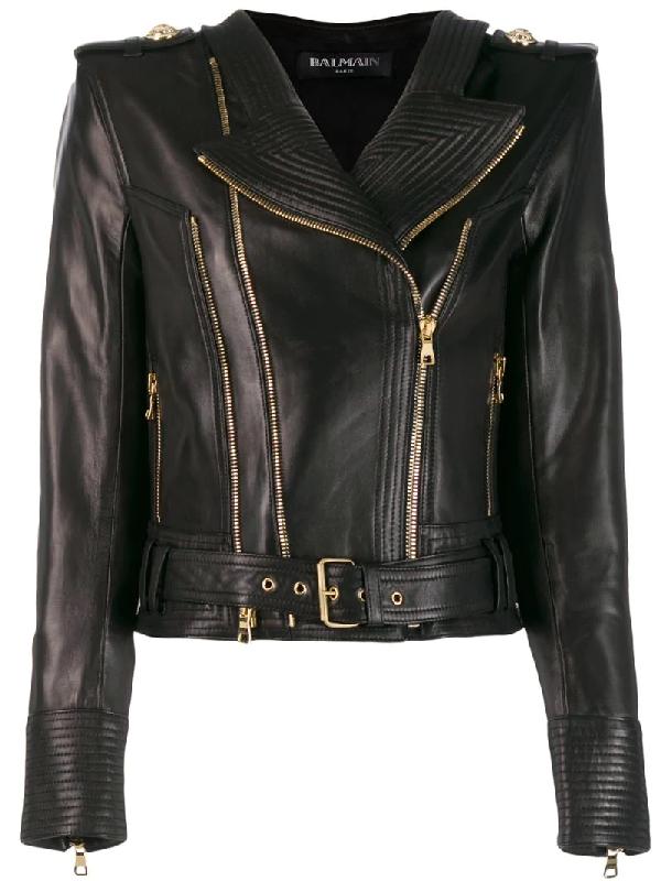 Balmain Ribbed Leather Biker Jacket In Black