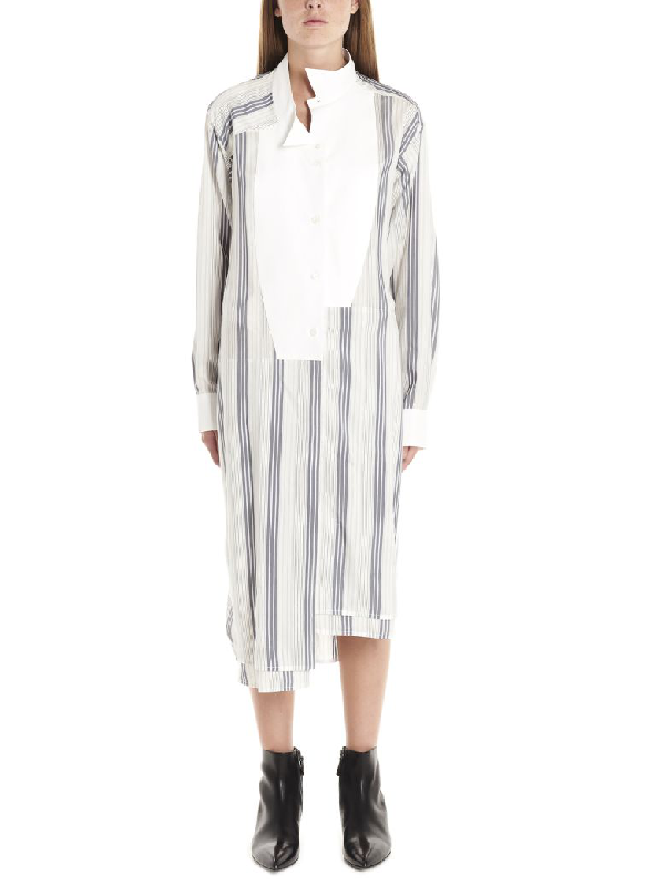 Loewe Tie-front Striped Silk-crepe Shirtdress In White