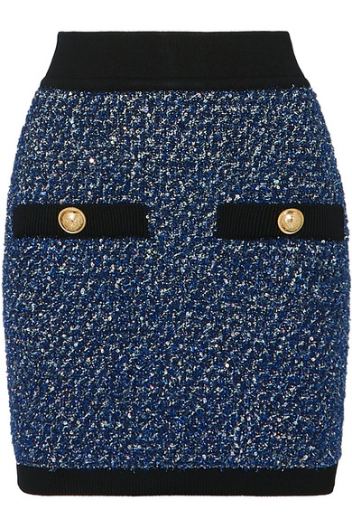 Balmain Button-Embellished Metallic Tweed Mini Skirt In Blue