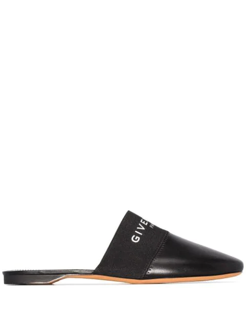 Givenchy Bedford Logo-print Leather Backless Mules In Black
