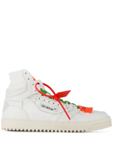 Off-White Low 3.0 Leather And Canvas High-Top Sneakers - White